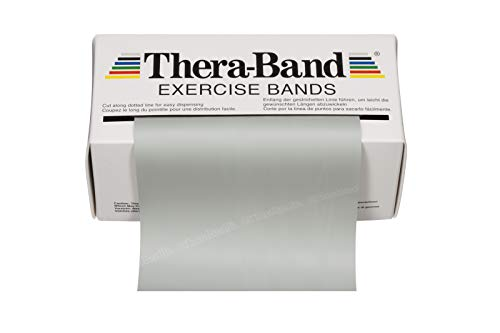 TheraBand Resistance Bands, 6 Yard Roll Professional Latex Elastic Band For Upper & Lower Body, Core Exercise, Physical Therapy, Pilates, Home Workouts, Rehab, Silver, Super Heavy, Advanced Level 2