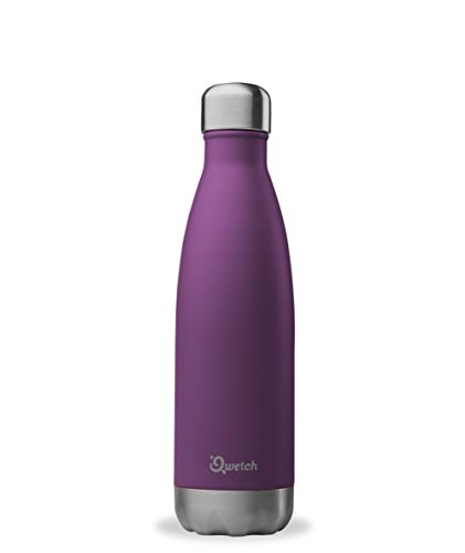 QWETCH - Bouteille Isotherme INOX 500ml - Maintient Vos Boissons au Chaud Pendant 12 Heures & au Frais Pendant 24 Heures – BPA Free - Pourpre