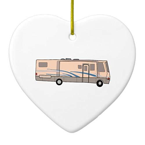 Rv Motorhome Heart Porcelain Ornament Gift 3'