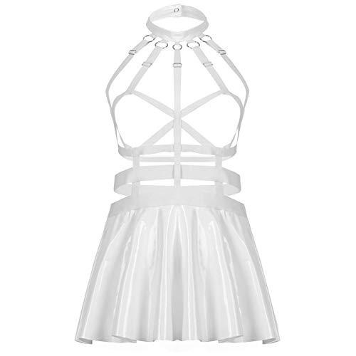 winying Damen Wetlook Kleid Sexy Minikleid mit Leder Choker Ouvert BH Bra Rückenfrei Top Glänzend Minirock Faltenrock Weiß S