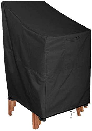 GWFVA Funda para Silla de jardín Funda para Silla apilable para Patio Impermeable 420D Tela Oxford Funda Protectora para Exteriores para sillas apilables Anti-UV 89x89x120 / 89cm Negro