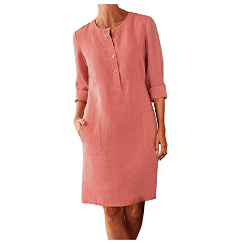 Vestido de lino con botones para mujer, vestido suelto, de manga corta, cuello redondo, bohemio, largo hasta la rodilla, vestido de lino bohemio, con bolsillos, vestido de fiesta con botones