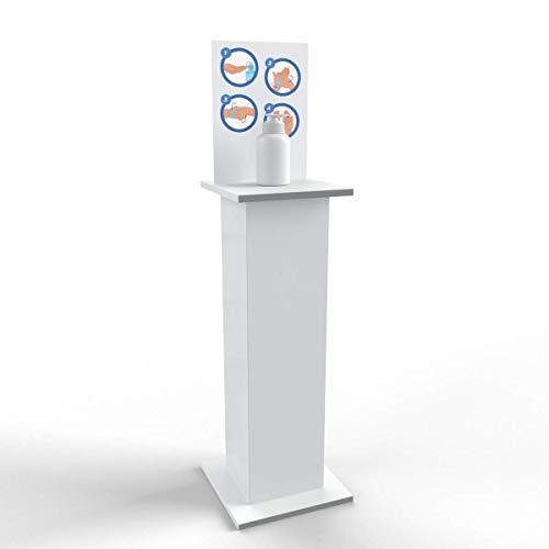 Columna con estante para dispensador de gel higienizante desinfectante de manos, 38 x 96 cm