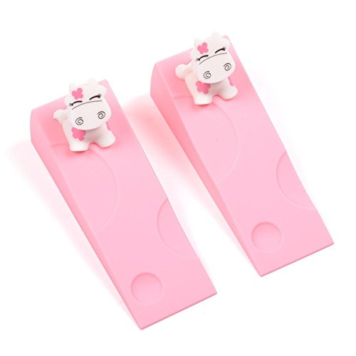 KLOUD City 2 pcs Light Pink Silicone Cute Cow Door Stopper Stop