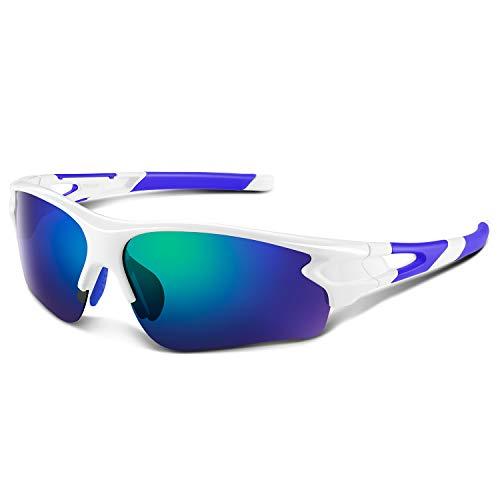 Gafas de Sol Polarizadas - Bea·CooL Gafas de Sol Deportivas Unisex Protección UV con Monturas Ligeras para Esquiando Ciclismo Carrera Surf Golf Conduciendo (Azul blanco)