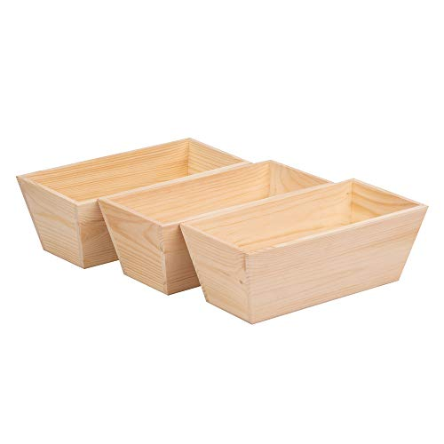 duston Juego de 3 jardineras, maceteros de madera, caja de almacenamiento, 34,5 x 17 x 12,5 cm