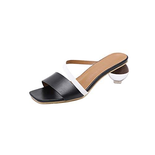 A Perfect Crystal Geometric Heel S Open Toe High Heel S Mixed Color Summer Swc0383,Black,5