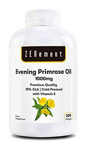 Huile d'Onagre avec Vitamine E | 1000 mg x 200 capsules | Qualité Premium Pressée à froid, 10% GLA | Équilibre hormonal des femmes | Saine et des os solides | 100% naturel | de Zenement