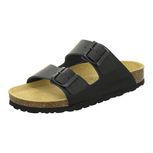 AFS-Schuhe 2100, Bequeme Damen Pantoletten echt Leder, praktische Arbeitsschuhe, Hausschuhe, Handmade in Germany (40 EU, schwarz)