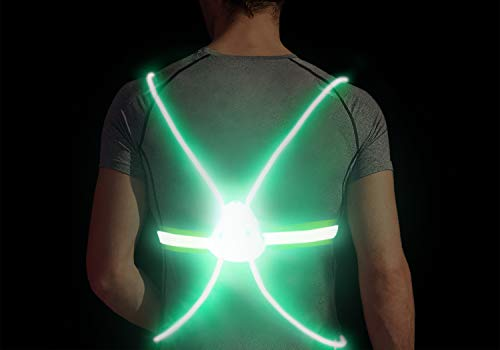 Gandecor LED Reflective Safety Vest for Night Running,Walking or Cycling,Green
