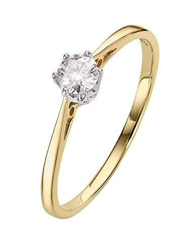 G&S Diamonds - Anello di fidanzamento con diamante da 1/5 carati, oro giallo, 57 (18.1), colore: Gold, cod. fbd032
