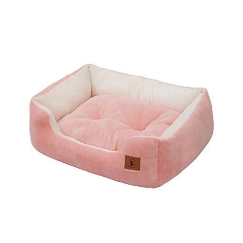 ペットベッド 猫 犬 クッション モチモチ3D綿 ふわふわ暖か リバーシブル通年 洗える S 47x35x15cm ピンク