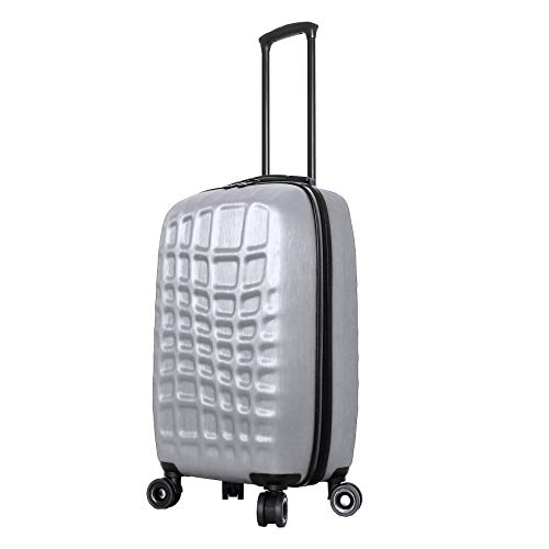 Mia Toro Italy Abstract Croco Hardside Spinner Luggage 24'' Inch, Silver