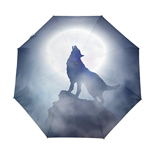 AOTISO Wolf Howling Mountain Moon Auto Open Close Foldable Windproof Travel Umbrella