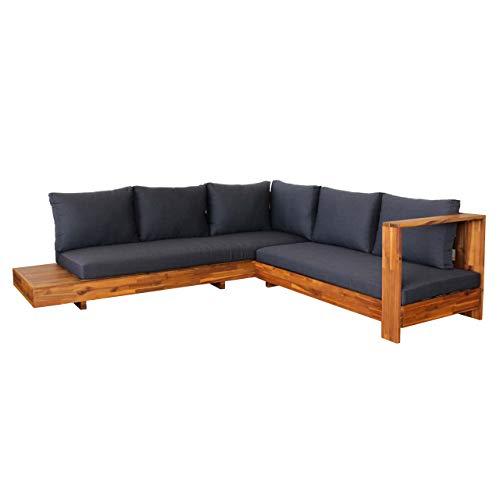 Mendler Gartengarnitur HWC-H59, Lounge-Set Sofa Sitzgruppe, Massiv-Holz Akazie Spun Poly - Kissen dunkelgrau