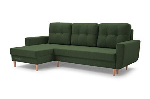 MOEBLO Sofa mit Schlaffunktion und Bettkasten, Couch für Wohnzimmer, Schlafsofa Federkern Sofagarnitur Polstersofa Wohnlandschaft mit Bettfunktion - Coral (Grün, Ecksofa Links)