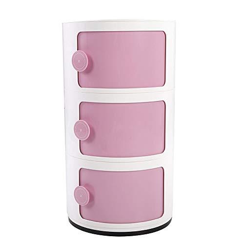 EBTOOLS 3 Schichten Container Componibili Schubladenschrank Rollcontainer Nachttisch Endtische Badezimmerschrank Aufbewahrungsschrank mit Slippng Tür, 63 x 32 cm(Rosa)