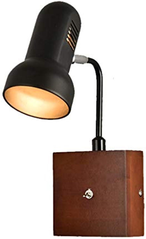 Xiao Fan   Nordic Moderne Minimalistische Wandleuchte Kreative Holz Kunst Schalter Beleuchtung Leuchte Mode Wohnzimmer Schlafzimmer Nachtwandleuchten (Farbe  Schwarz)