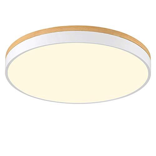 WFZRXFC Lámpara de techo con chasis de madera redonda de hierro forjado blanco moderno, fácil de instalar, interruptor, sala de control, lámpara de techo, regulable, 3 temperaturas de color en una, lá