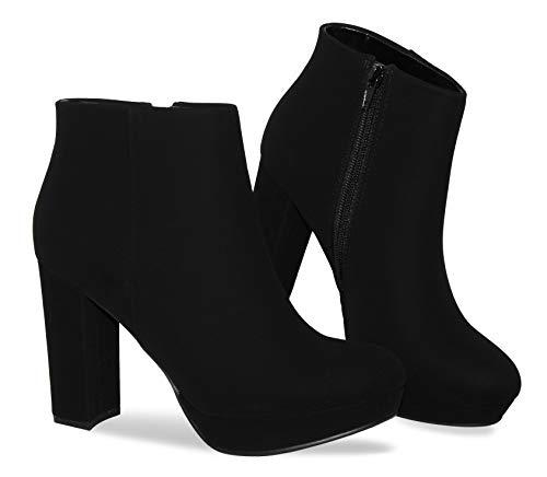 MVE Shoes Womens Ankle Bootie Side Zip Chunky Heel Boots, Black Nbpu 11
