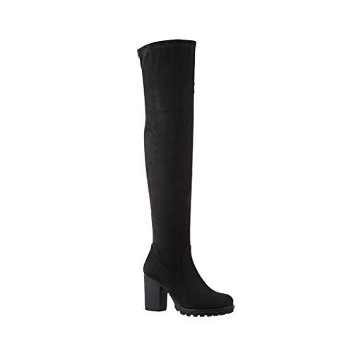 Elara Damen Stiefel Overknee High Heels Absatz Chunkyrayan E4835 Black-37