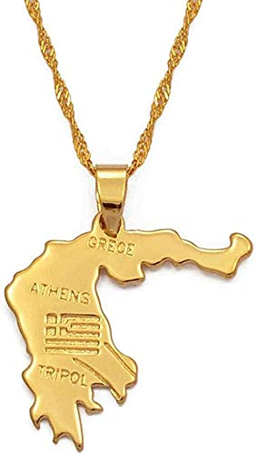 DUEJJH Co.,ltd Collar Mapa de Grecia Collares Pendientes Joyería Griega de Color Dorado