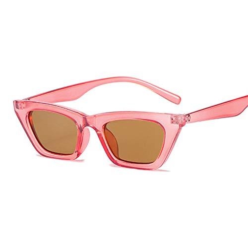 Gafas de sol vintage negro ojo de gato femenino pequeño marco cuadrado mujer gafas de sol espejo transparente moda retro adecuado para senderismo, camping
