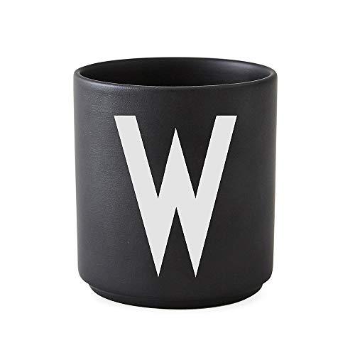 Design Letters Tasse en Porcelaine personnelle A-Z (Noir) - W