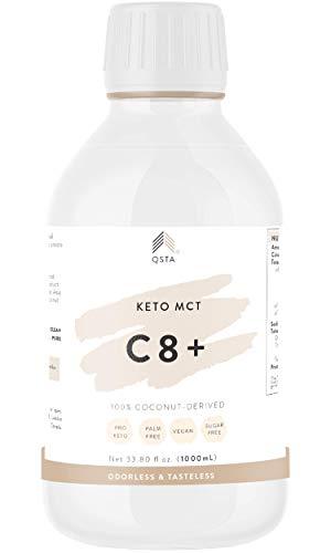 Keto Plus Actives C8 (1000 ML) - 100% Aceite MCT C8 Puro, Promueve Energía, Keto Rapido, Keto Light o Low-Carb, Sin Aditivos, 100% Natural + Servicio de Personalización