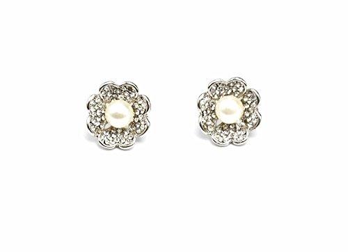 BO70-Pendientes, diseño de pétalos, diseño de corazón con brillantes, color gris perla moda centro de fantasía, color crudo