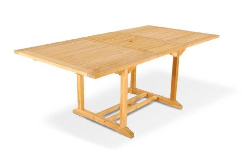 SAM Gartentisch Caracas, Ausziehtisch aus Teak-Holz, massiver Holztisch bis 200 cm Länge für Balkon, Terrasse oder Garten