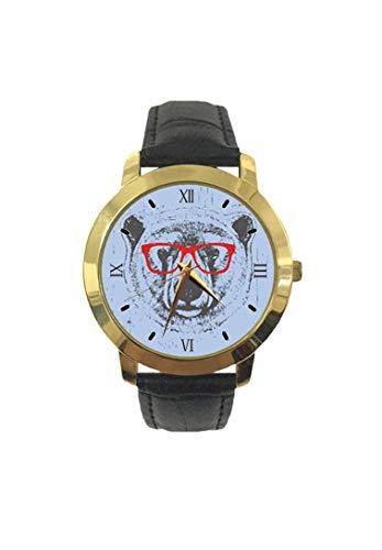 Skurrile Grunge Portrait eines Eisbärs mit Brille Mode Herren Armbanduhr Quarz Lederband Freizeit Armbanduhr