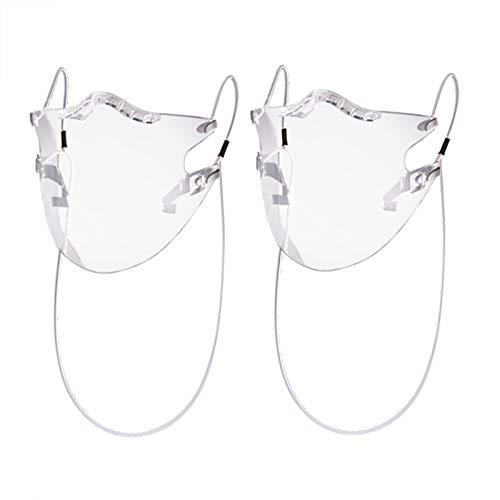 Feelcrag Unbegrenzt Wieder-Verwendbarer Mund und Nasen-Schutz, Gesicht-Anliegende Klarsicht-Maske, Transparente Community-Maske mit Ohren-Bügel, Plastik Mund-Schutz mit Anti-Beschlag (2 Stück)