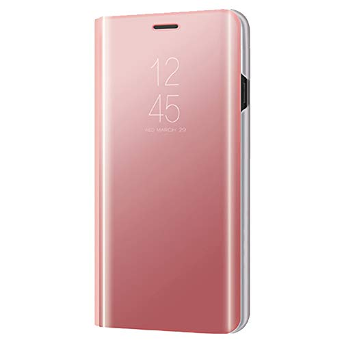 Xmas Mall Caso Mi Mix 3,[Función de Kickstand][Espejo Protector][Ventana de Vista translúcida] Ultra-Delgado Lujo Galvanizar Enchapado Inteligente Caso Funda para Xiaomi Mi Mix 3 - Oro Rosa