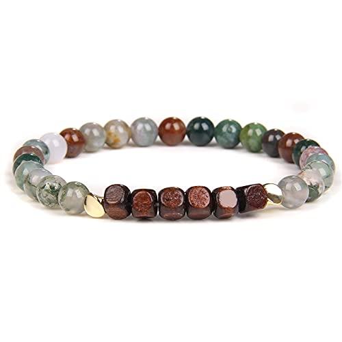 Wood Charm Bracelets Natural 6 mm African Turquois Beads Bracelet Men Stretch Jewelry Vintage Prayer Meditation Women Bangle Gif