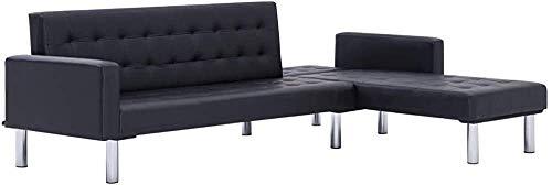 En forma de L convertible sofá cama | Sofá de la cama | 2 posición de sofá esquina ajustable,Black