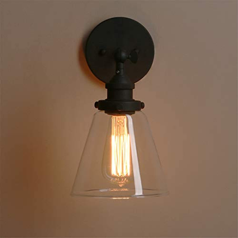 LH-LENORS Trichter Glas Antike Bronze Wandleuchte Wandleuchte Vintage Moderne Metall Wandleuchten E27 Leuchten schwarz