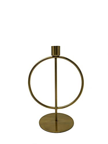 LaLe Living Kerzenständer - Halka - aus Eisen in Gold, 15,5 x 22 cm, geeignet für eine Stabkerze als Dekoration auf jedem Couchtisch, Schreibtisch, Fensterbank oder als scandic Weihnachtsdeko