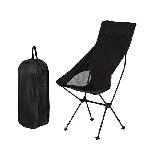 LICHUAN Silla de camping plegable al aire libre portátil ultraligera de aleación de aluminio con respaldo alto para acampar playa pesca (color negro)