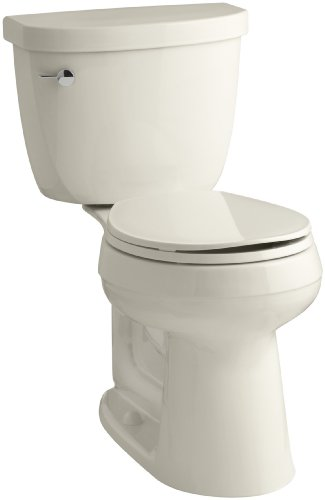 KOHLER K-3887-47 Cimarron Comfort Height Two-Piece Round-Front 1.28 GPF Toilet with AquaPiston Flush Technology and Left-Hand Trip Lever, Almond