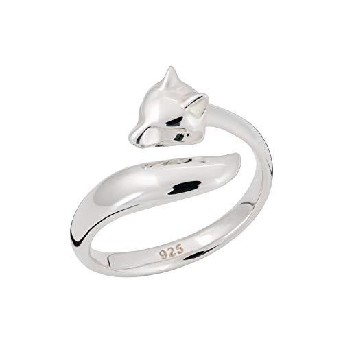 Lily Charmed - Sterling Silver Adjustable Fox Head Tail Open Ring