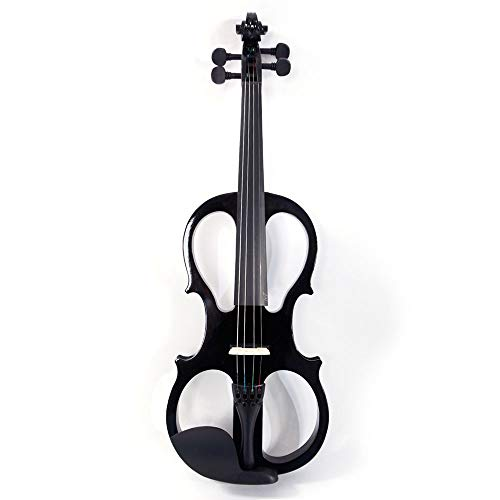 WJAROG Musical Instruments Piano Paint 4/4 Electric Silent Violin Case Bow...