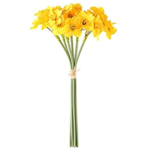MOOBOM 6pcs Artificial Narcissus Flower Bouquet Arrangement Flower Wedding Home Party Ornament Photo Props Simulation Narcissus Flowers Plant for Festival Holiday Decor Yellow