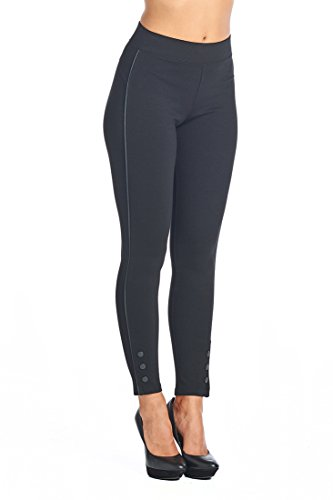 Ci Sono Ponte Leggings W/Buttons on Ankles (Large) Black