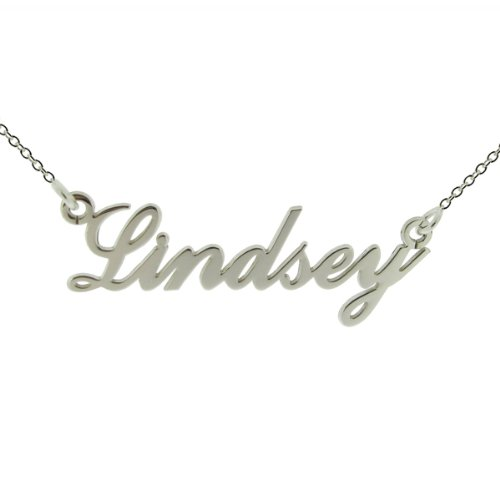 Solid 9ct White Gold Carrie Style (Sex & The City) Personalised Name Necklace With 18' (46cm) Trace Chain In Presentation Gift Box - ANY NAME MADE (See Description)