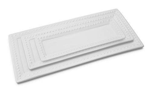 KOVOT Ceramic Rectangular Platter Set | 3 Piece Porcelain Platter Set Includes (1) Large, (1) Medium, (1) Small