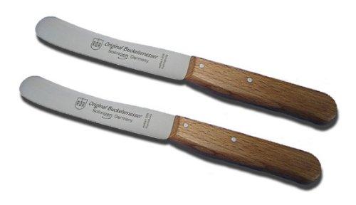Buckels Messer Buche 2 x Frühstücksmesser / RÖR Solingen / Griffe Buchenholz / Brotzeitmesser Menümesser Vespermesser Buttermesser Brötchenmesser