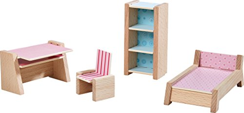 HABA 303841 - Little Friends – Puppenhaus-Möbel Jugendzimmer   Mit Bett, Schreibtisch, Stuhl und Regal   Passend für alle Little Friends-Puppenhäuser