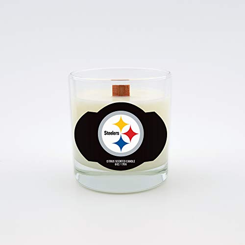 Worthy Promotional NFL Pittsburgh Steelers Citrus Scented 6 oz Soy Wax Candle, Wood Wick