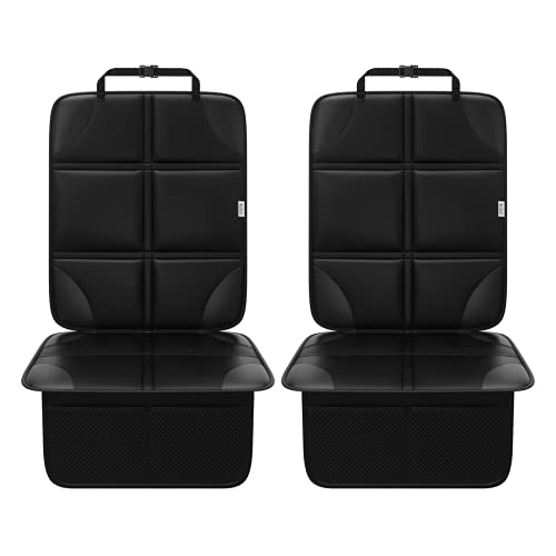 Meolsaek Car Seat Protector for Child Car Seat, Waterproof 600D Fabric, Non Slip, Will Not Leave Imprint, 2 Pack Carseat Seat Protector for Leather Seats (Black)